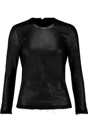 RTA Colette leather and cotton-blend top