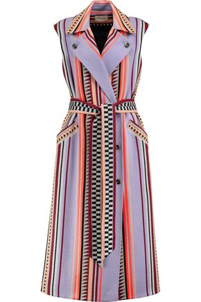 Temperley London Cottons WOMAN CHARM BELTED PANELED JACQUARD COAT MULTICOLOR