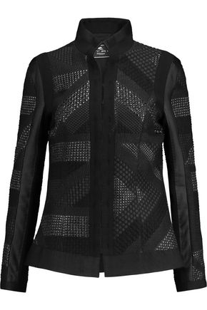 ETRO Metallic bouclé-paneled crepe jacket