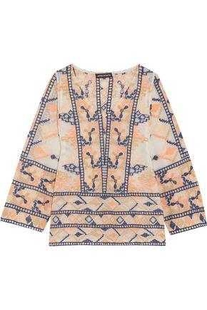 ANTIK BATIK Embroidered cotton-blend top