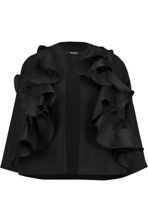 BADGLEY MISCHKA Silk-organza ruffle-trimmed twill jacket