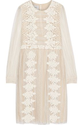 VALENTINO Paneled embroidered lace dress