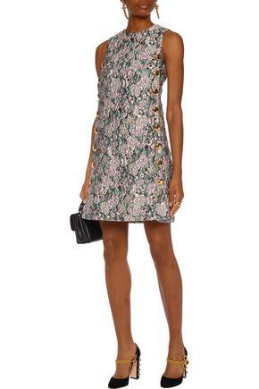 DOLCE   GABBANA Button-embellished brocade mini dress 9046031f5e089