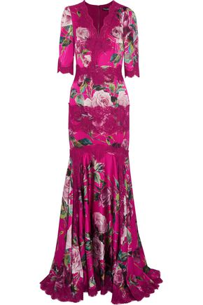 DOLCE & GABBANA Fluted printed silk-blend gown