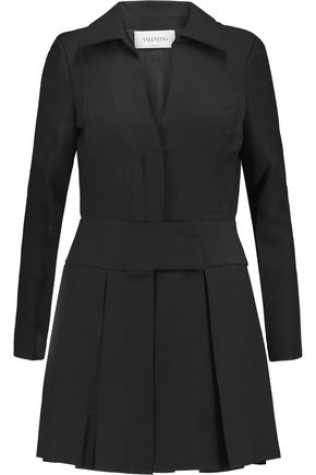 VALENTINO Pleated wool and silk-blend mini shirt dress
