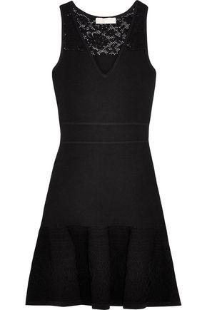MICHAEL MICHAEL KORS Pointelle-knit paneled stretch-knit mini dress