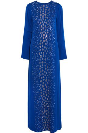 MICHAEL MICHAEL KORS Embellished silk-blend crepe maxi dress