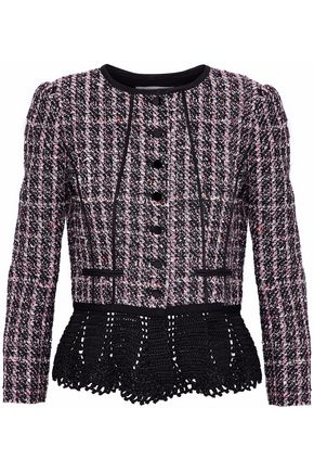 OSCAR DE LA RENTA Crochet-trimmed sequin-embellished tweed peplum jacket
