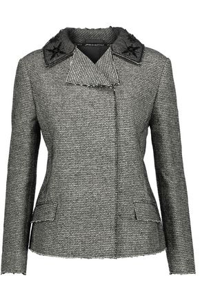 MAISON MARGIELA Embellished silk organza-trimmed metallic tweed jacket