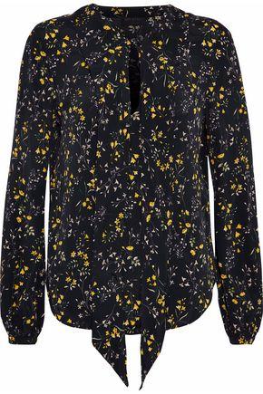 BELSTAFF Pussy-bow floral-print crepe de chine blouse