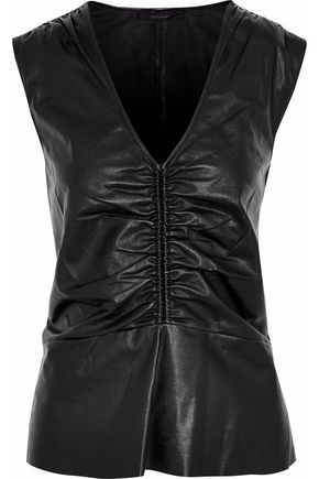 BELSTAFF Ruched leather top