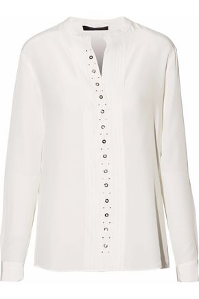 BELSTAFF Pintucked embellished silk blouse
