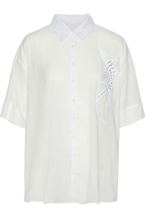 3x1 Cutout embroidered cotton-blend voile shirt