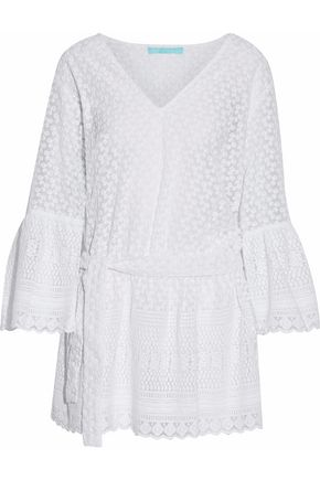 MELISSA ODABASH Belted embroidered gauze coverup