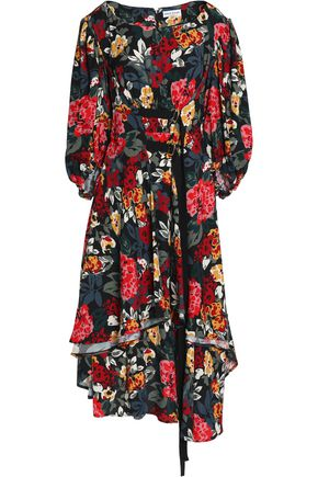 SONIA RYKIEL Draped floral-print crepe midi dress