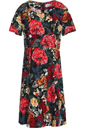 SONIA RYKIEL Fluted floral-print crepe mini dress