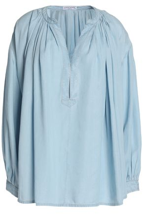SONIA RYKIEL Gathered chambray blouse
