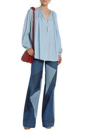 SONIA RYKIEL Gathered chambray blouse