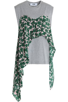 MSGM Asymmetric layered floral-print crepe de chine and cotton-jersey top
