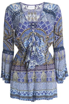 CAMILLA Tie-front printed silk crepe de chine playsuit