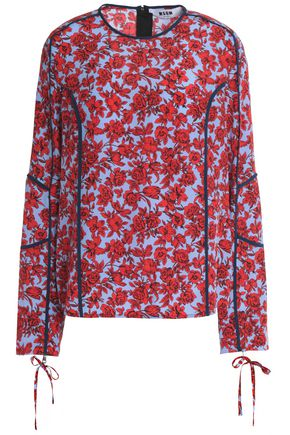 MSGM Floral-print silk-georgette blouse
