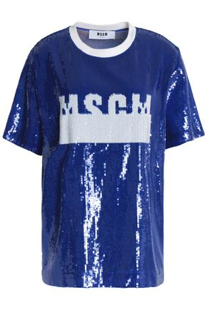 MSGM Sequined gauze T-shirt