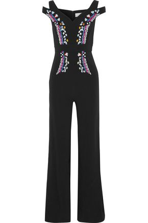 PETER PILOTTO Cold-shoulder embroidered cady jumpsuit