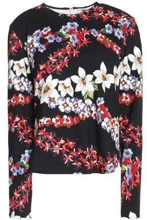 MSGM Floral-print crepe de chine top