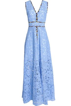 MSGM Floral-print crepe de chine-trimmed pleated corded lace gown