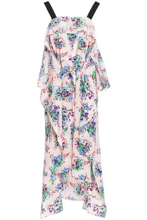 MSGM Draped floral-print silk crepe de chine dress