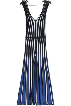 MSGM Pleated striped stretch-knit jumpsuit