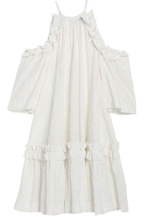MSGM Cold-shoulder embroidered cotton-blend dress