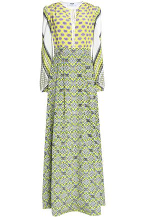 MSGM Fluted printed silk crepe de chine maxi dress