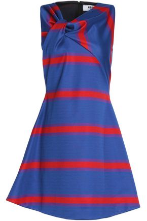 MSGM Twisted striped knitted mini dress