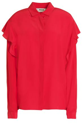 MSGM Ruffle-trimmed silk crepe de chine shirt