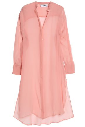 MSGM Silk-georgette midi shirt dress