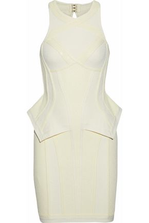 HERVÉ LÉGER Stretch knit-paneled bandage peplum mini dress