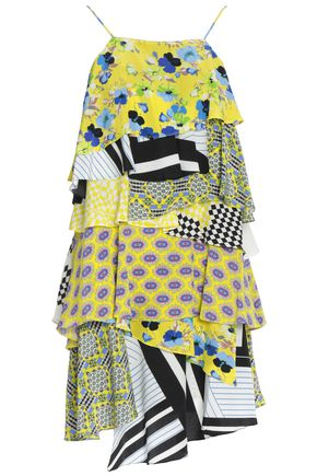 MSGM Tiered printed silk crepe de chine dress