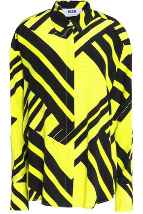 MSGM Two-tone crepe de chine top