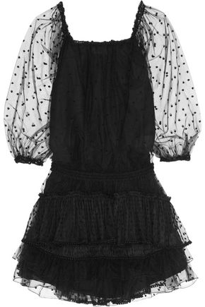 CHLOÉ Pompom-embellished Swiss-dot tulle mini dress