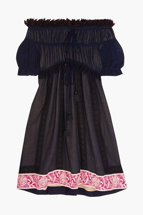 CHLOÉ Off-the-shoulder guipure lace-trimmed cotton and silk-blend crepon dress