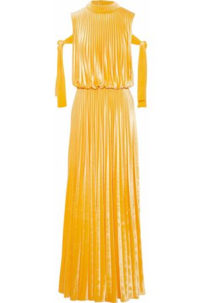 MIKAEL AGHAL Gathered pleated velvet gown