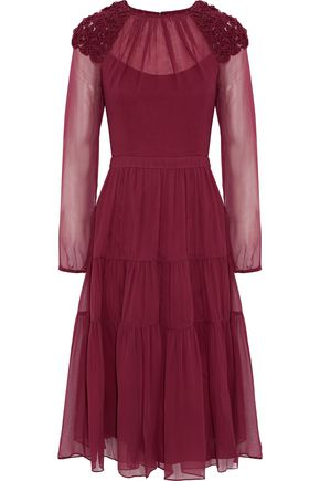 MIKAEL AGHAL Tiered embroidered silk-chiffon dress