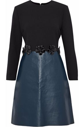 VICTORIA, VICTORIA BECKHAM Floral-appliquéd wool-crepe and faux leather dress