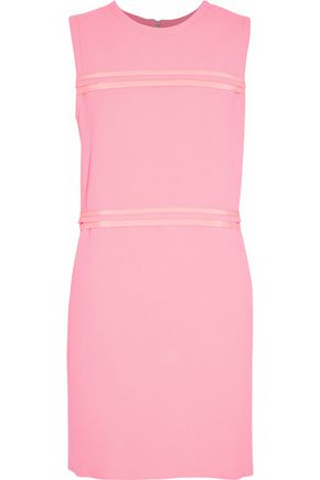 VICTORIA, VICTORIA BECKHAM Satin-trimmed wool mini dress