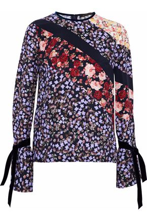 MOTHER OF PEARL Velvet-trimmed floral-print silk crepe de chine top