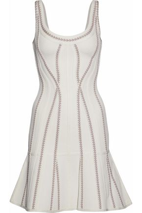 HERVÉ LÉGER Fluted stretch knit-paneled bandage mini dress