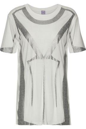 HERVÉ LÉGER Metallic printed modal-jersey T-shirt