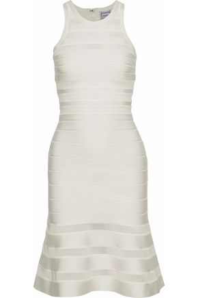 HERVÉ LÉGER Fluted mesh-trimmed bandage dress