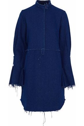 MOTHER OF PEARL Embellished frayed cotton-chambray mini dress